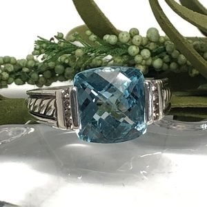 David Yurman Blue Topaz Diamond Deco Ring .925